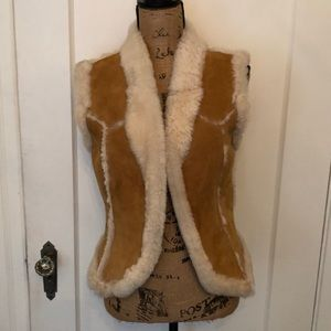 Vintage shearling and suede vest